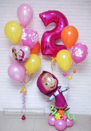 decoracion con globos de masha y el oso como hacer