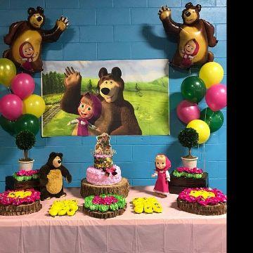 decoracion con globos de masha y el oso ideas