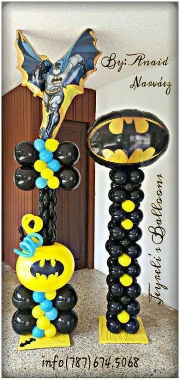 decoracion de batman con globos hacia arriba