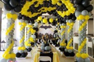 4 estilos de decoracion de batman con globos