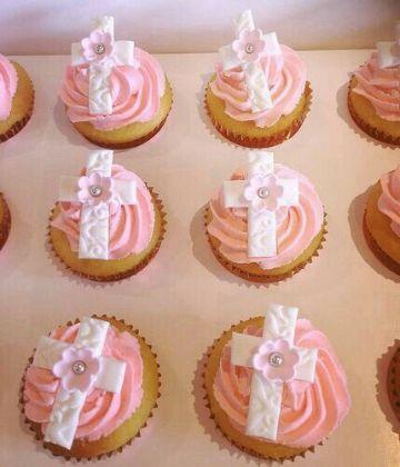 ideas para cupcakes para bautizo de niña