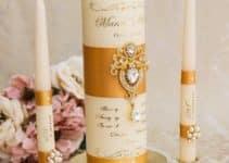 4 velas decoradas con liston para distintas ocasiones