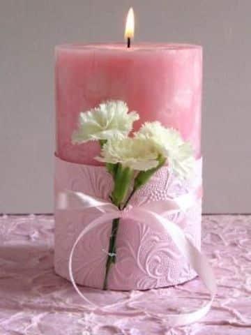 velas decoradas con liston para quinceaños