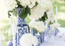 4 ejemplos para hacer un centro de mesa azul y blanco