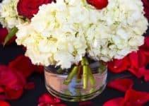 4 centros de mesa en rojo y blanco para cenas y bodas