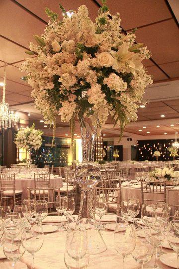 flores blancas para centro de mesa de bodas ideas