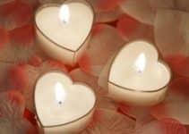 4 hermosas velas con forma de corazon para regalar
