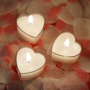 velas con forma de corazon para regalar