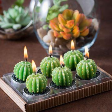 velas en forma de cactus para decorar