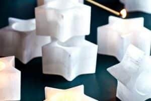 4 velas en forma de estrella para decorar y regalar