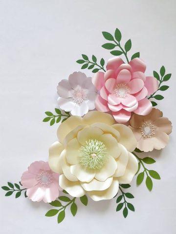 flores de cartulina para bautizo invitaciones
