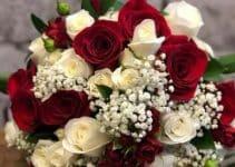 4 estilos de ramos de flores blancas y rojas para novias