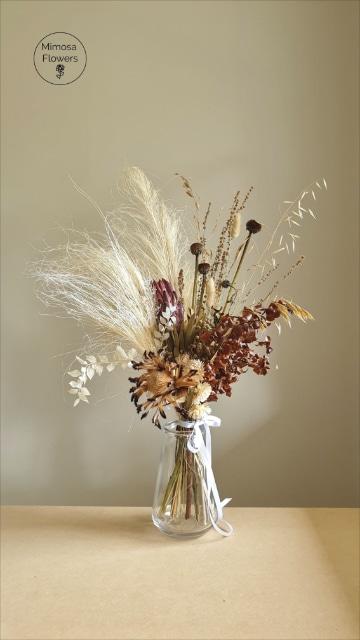 centros de flores secas para salon simples