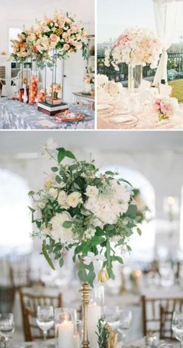 centros de mesa altos para boda estilos