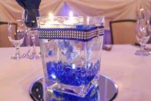 4 lindos centros de mesa azul rey para bodas y 15 años