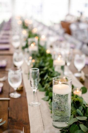 centros de mesa con velas flotantes solos
