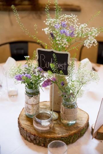 centros de mesa para 15 con frascos pequeños