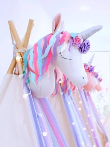 adornos con globos de unicornio para niñas