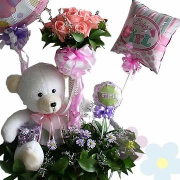 arreglos florales con peluches y globos para san valentin