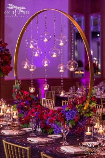 centros de mesa con aros para matrimonios