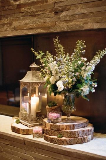centros de mesa con troncos para boda