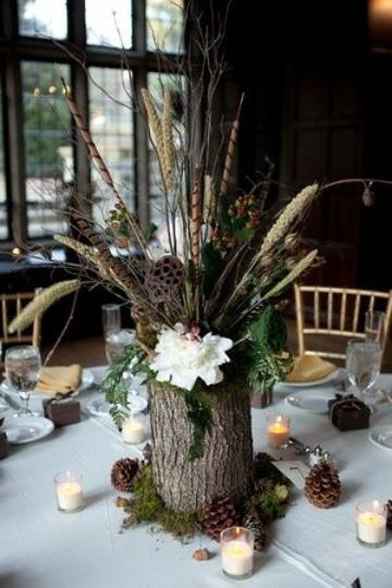 centros de mesa con troncos para fiestas
