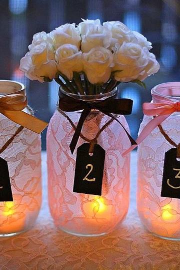 como hacer centro de mesa con frascos para 15