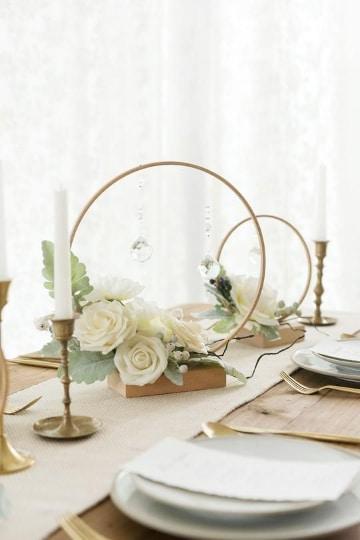 ideas de centros de mesa con aros