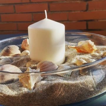 centro de mesa con arena para la sala