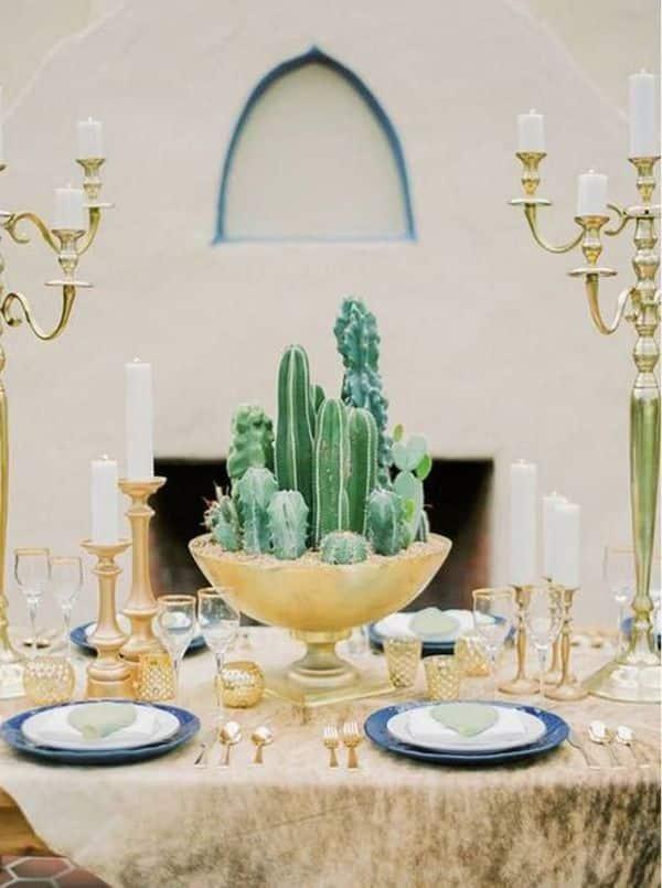 arreglos de mesa con cactus grandes