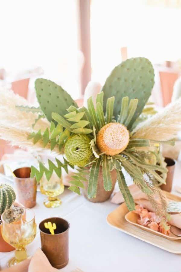 arreglos de mesa con cactus ideas