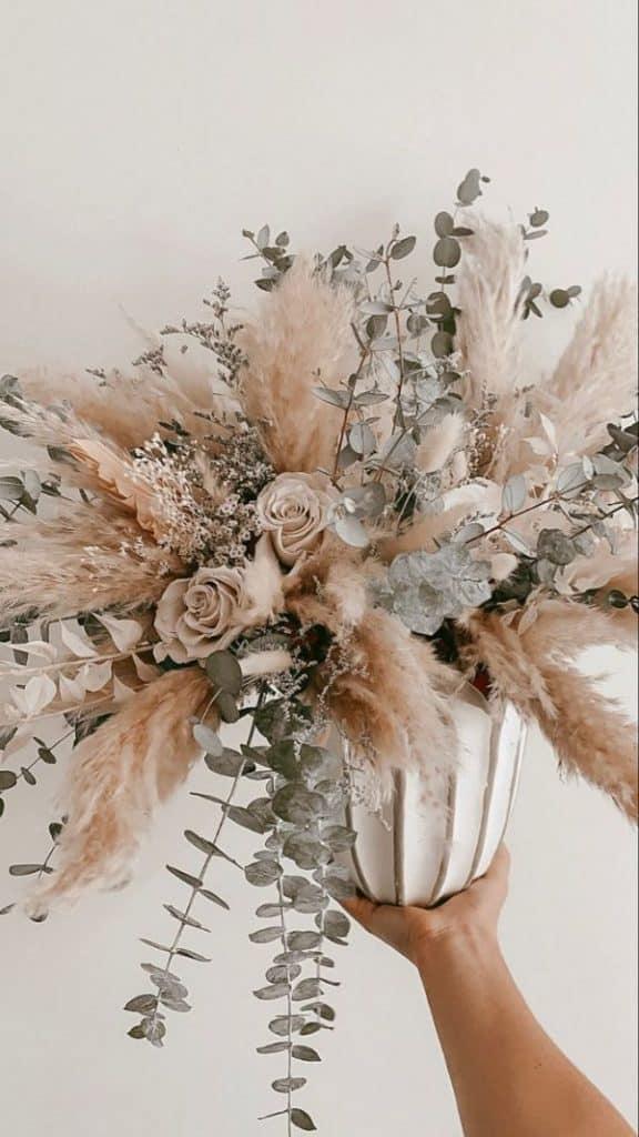 centro de mesa flores secas diseño