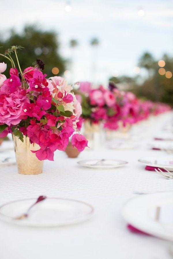 centros de mesa con bugambilias elegantes