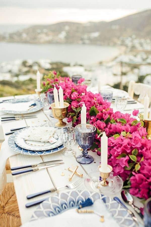 centros de mesa con bugambilias para bodas