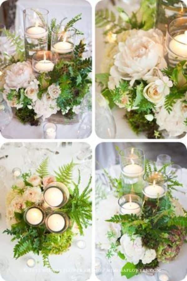 centros de mesa con helechos para bodas