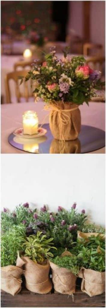centros de mesa con tela para boda
