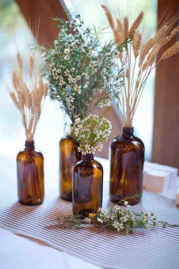 fiestas con centro de mesa flores secas
