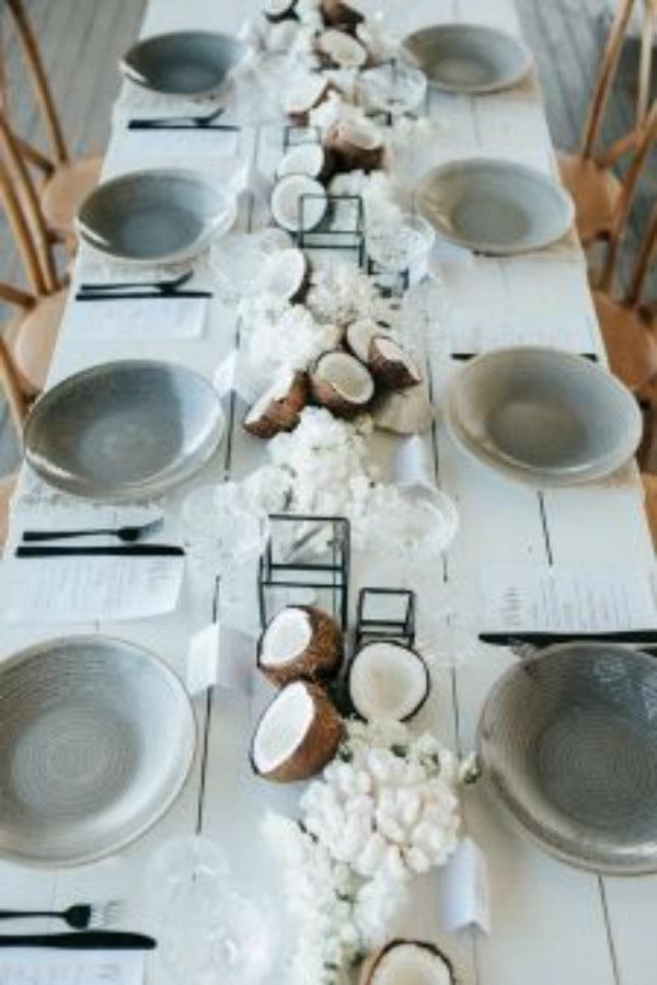 Centros de mesa con cocos ideas