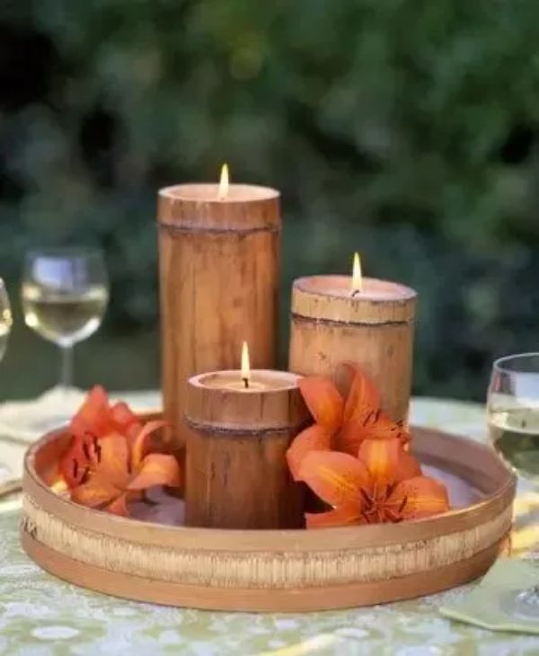 arreglos de mesa con bambu para bodas