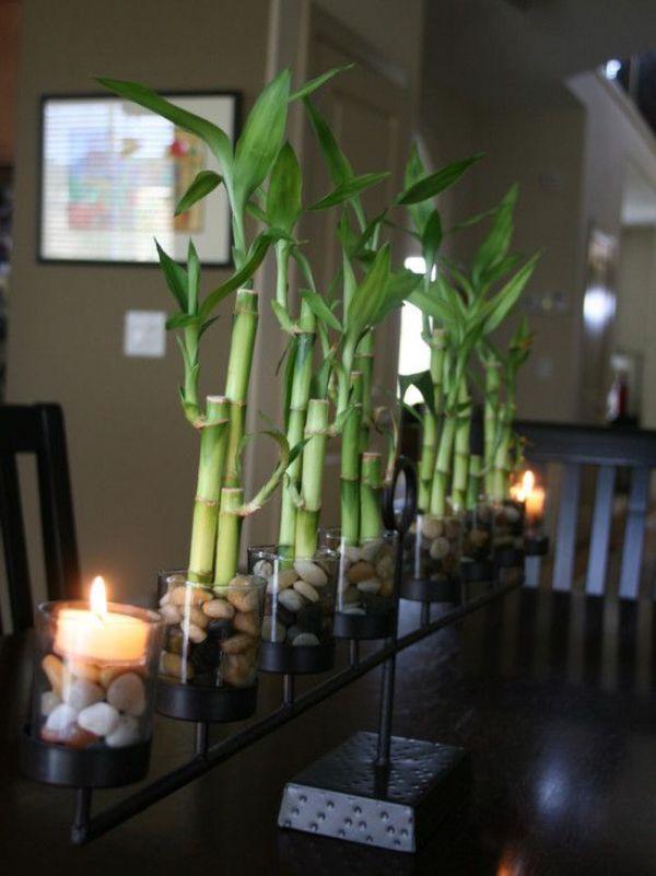 arreglos de mesa con bambu sencillos