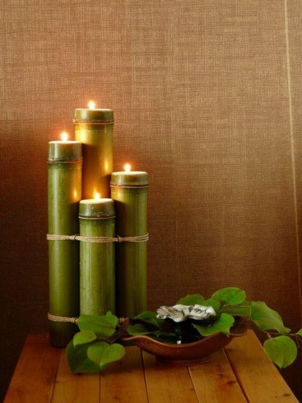 arreglos de mesa con bambu y luces