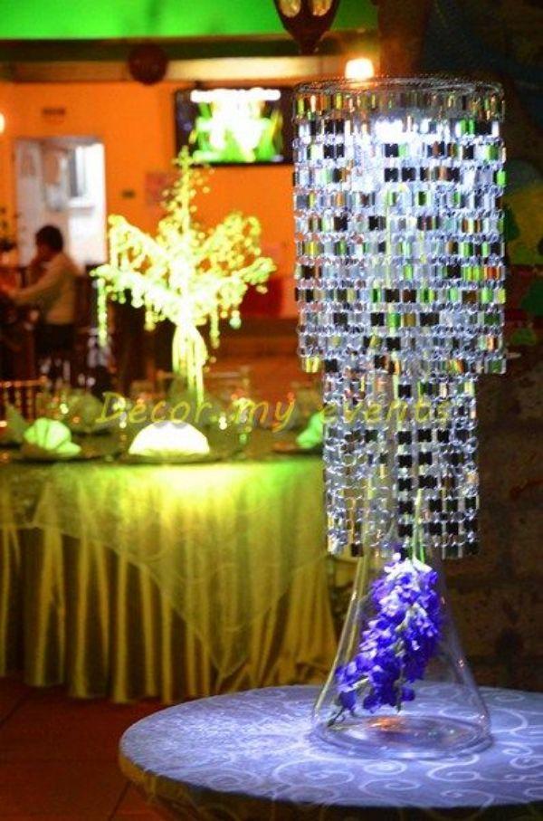 centros de mesa con lamparas y vidrio