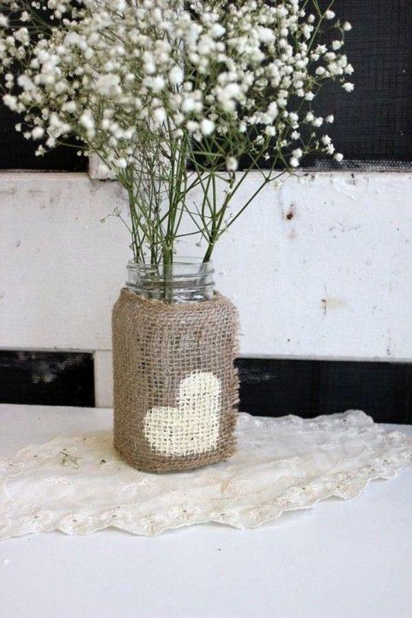 centros de mesa con mason jars para bodas