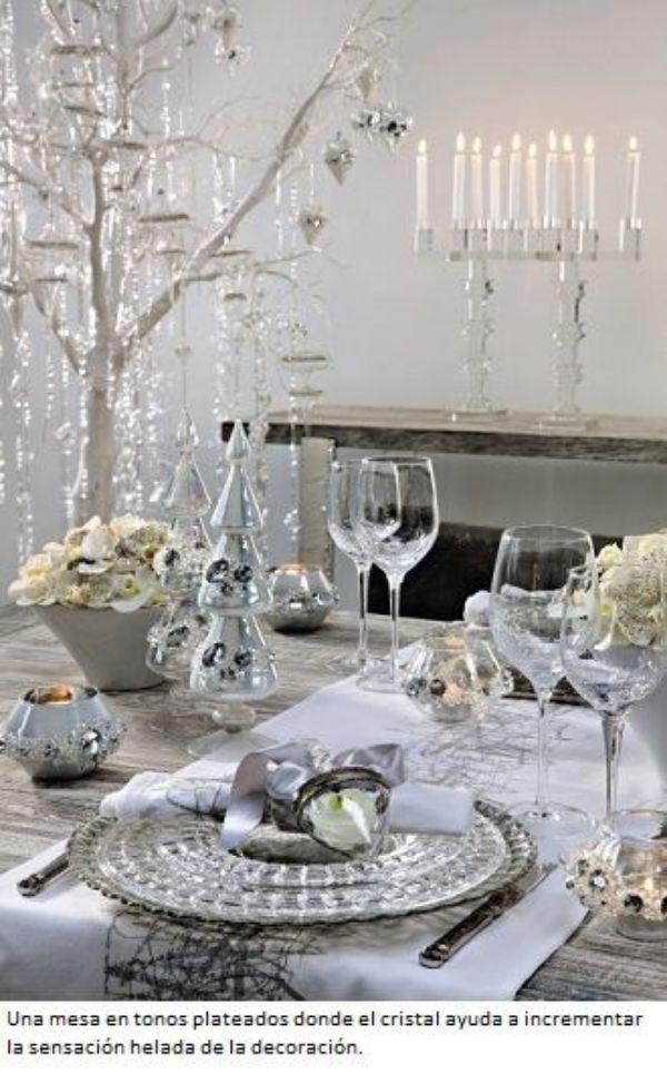 centros de mesa plateados para cena