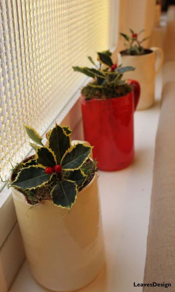 centros de navidad con acebo sencillo