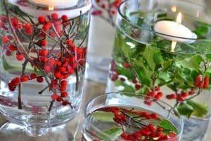 4 centros de navidad con acebo para casa y fiestas