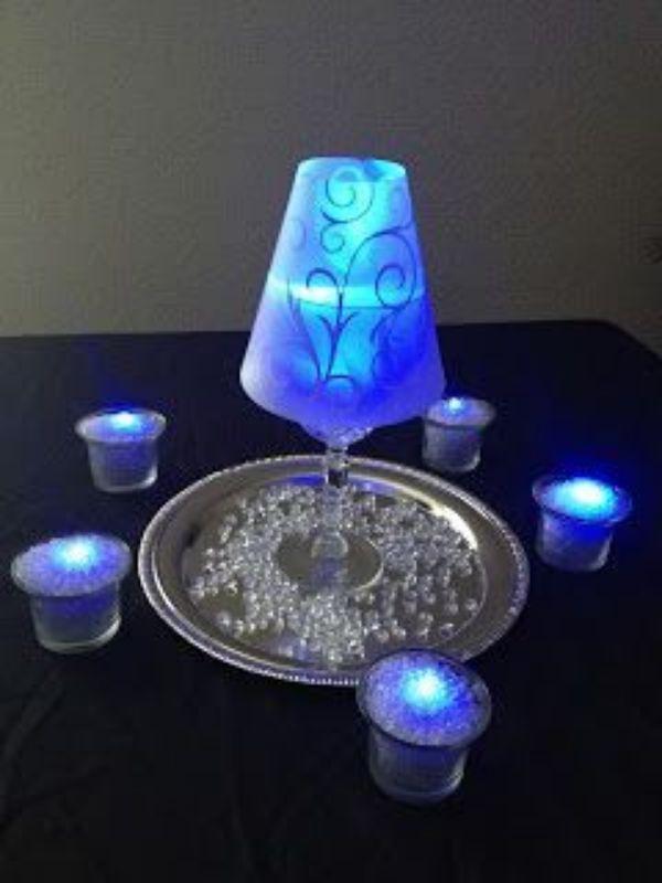 copas para centro de mesa con luz