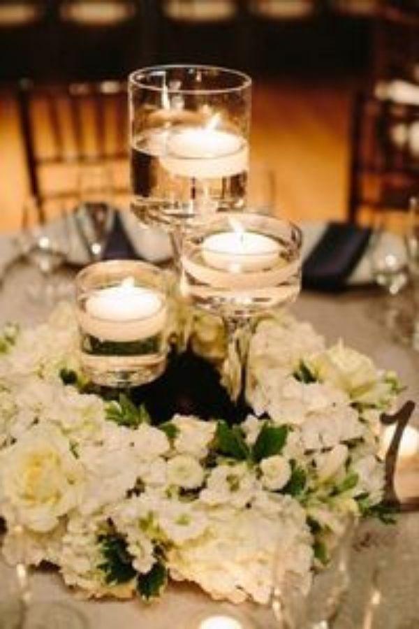 copas para centro de mesa con velas