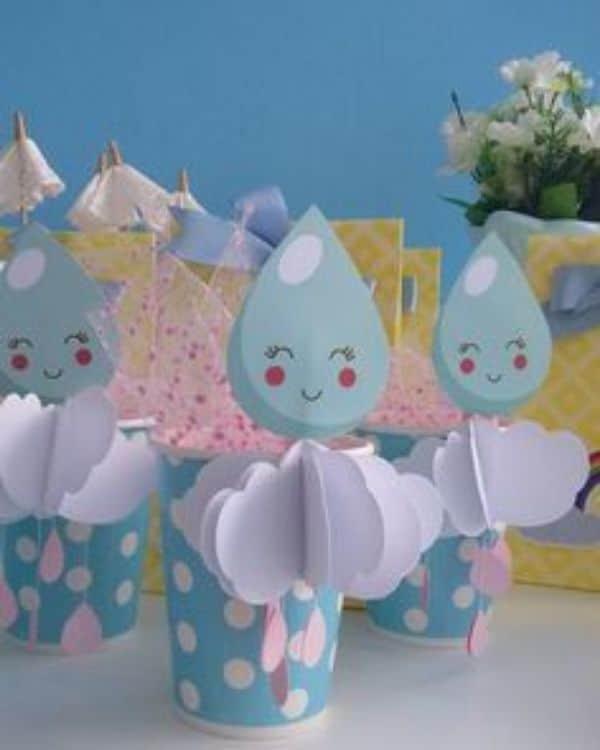 adornos de lluvia de amor con papel