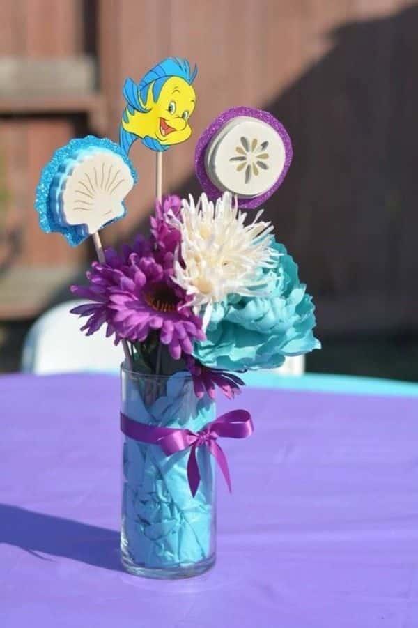 adornos de mesa de la sirenita para fiestas